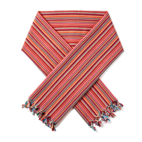 Short woven Turkish scarf or neckerchief in a choice of two bright colours. Stylish dressed up or down. Sustainably woven in Turkey by artisans. Seen here is the Russet red.