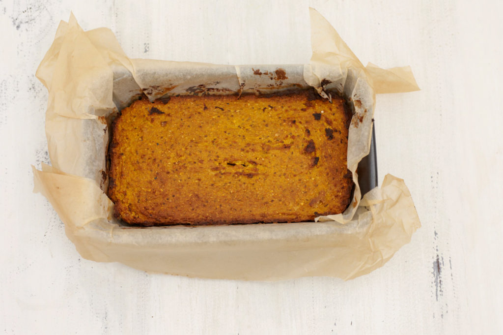 Deliciously Ella's spiced pumpkin loaf - a healthy autumnal snack time treat! Made from pumpkin puree, oats and maple syrup.  Photo: Deliciously Ella via The Telegraph