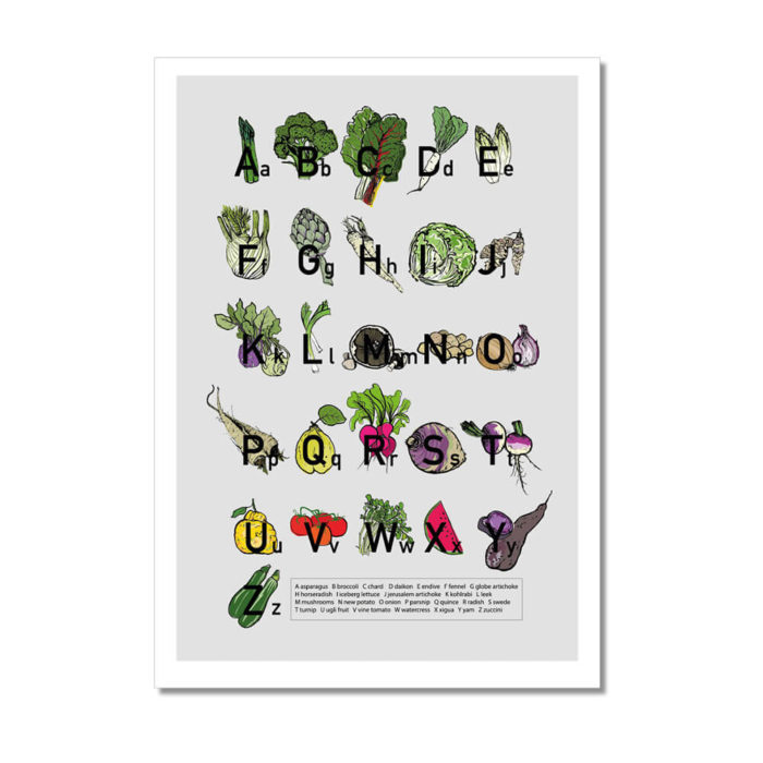 A to Z alphabet poster print from original artwork by Amy Hope. Signed A2 Fine Art Giclee print on 220gsm white archival paper. Get your daily dose of fresh vegetables plus a little bit of fruit.