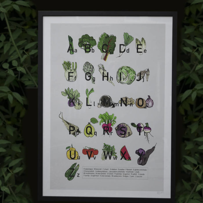 We all know vegetables are good for you, so get your dose in with this A2 alphabet poster, signed by artist and graphic designer Amy Hope. Printed on A2 Fine Art Giclee print on 220gsm white archival paper, signed by the artist.