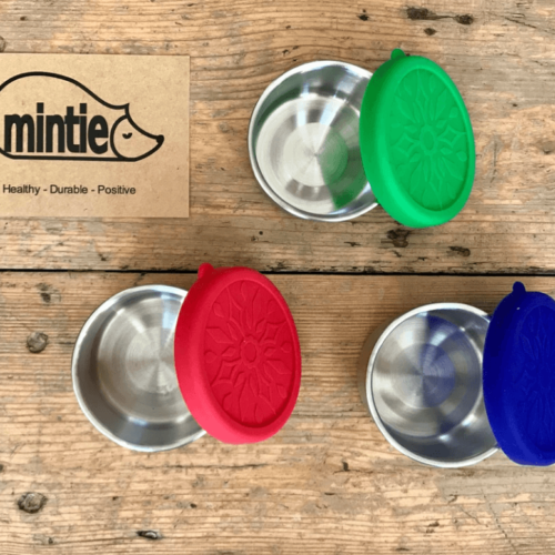 3 Mintie mini snack Pots in berry colours The pots measure 4cm tall and 7cm in diameter with the lids on and 6.5cm with the lid off. 75ml capacity Each set comes with 3 different coloured BPA-free silicone lids in blueberry, raspberry and grape tones. These are perfect for all your snacks on the go, as weaning dishes or as toddler pots. Mintie Mini's are leakproof making them ideal for hummus, applesauce or yogurt. The full Mintie collection of stainless steel lunch boxes, storage boxes and water bottles can be seen at chalkandmoss.com/brand/mintie/