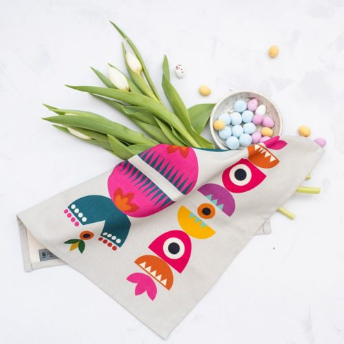 A set of four cotton cloth dinner napkins, featuring bright and bold, Scandinavian inspired print pattern. These napkins are made out of soft, yet very sturdy cotton, which makes them perfect to use again and again at the dinner table. They add charm and playful mood to any table decor. The set includes 4 napkins, measuring 39x39cm. Bright and colourful design on soft beige/ light grey background 100% Cotton Wash at 40 C degrees. The Solstice cotton napkins print follows up the best selling Scandinavian Solstice pattern design, so why not explore the other items featuring the same print. Designed by Softer + Wild in Lewes, made in the UK.