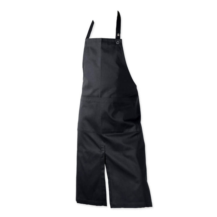 Black apron with two large wide pockets. Kitchen apron or work apron perfect for home, cafes or shops.