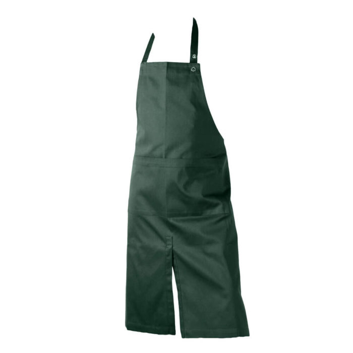 Dark green apron with two large wide pockets. Kitchen apron or work apron perfect for home, cafes or shops.