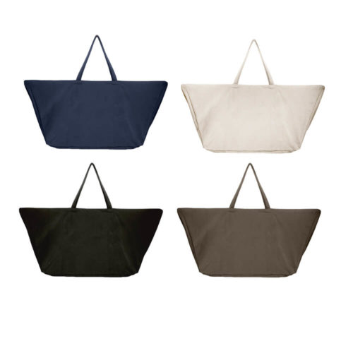 Carry your life around in style with this large overnight bag in organic cotton. This huge bag is practical and unique, perfect as a day bag, or used for going to yoga, the gym. The large size also makes it suitable as a lightweight weekend bag. Available in clay, black, dark blue and stone. Size: 90 X 45 X 35 cm