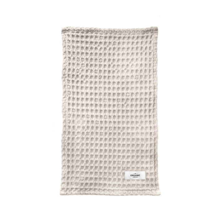 Big waffle kitchen & wash cloth in Stone. Sustainable in GOTS certified organic cotton.