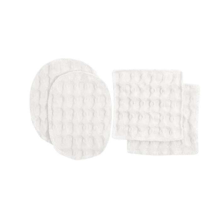 Reusable makeup pads, perfect for facial care and makeup removal. Simply wash, dry and reuse! Box of 2 oval ( 7x11cm) and 2 square (8x8cm) cotton pads. 100% organic cotton makeup remover pads in a range of soft and earthy colours. These beauties are made from excess fabrics in the big waffle production, to minimise waste. A true zero waste products for sustainable living. By The Organic Company at Chalk & Moss. Seen here in natural white.