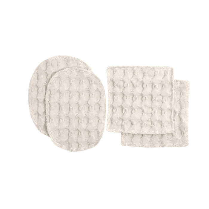 Reusable makeup pads, perfect for facial care and makeup removal. Simply wash, dry and reuse! Box of 2 oval ( 7x11cm) and 2 square (8x8cm) cotton pads. 100% organic cotton makeup remover pads in a range of soft and earthy colours. These beauties are made from excess fabrics in the big waffle production, to minimise waste. A true zero waste products for sustainable living. By The Organic Company at Chalk & Moss. Seen here in stone white.