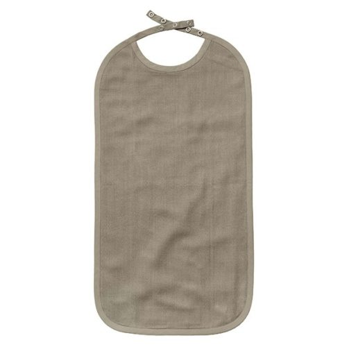 Plain cotton baby bib, extra long design to catch food from the lap or table. Organic and plastic free, meaning the child can safely eat spills. Double lined, with a herringbone weave on one side. It has a hanging loop and five metal poppers at the back of the neck for adjusting the fit. Machine washable up to 60 degrees. 30cm x 50cm Available in rose, blue, clay, green and grey. Seen here in clay. For children 6 months to 3 years.