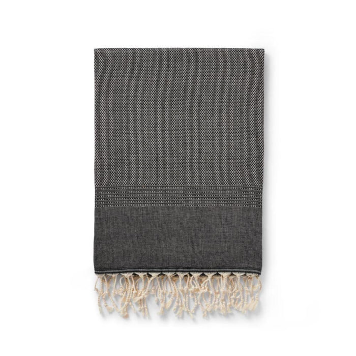 Ekin throw - cotton & wool blend blanket for colder climates. Available in slate, grey and black. Seen here in black.