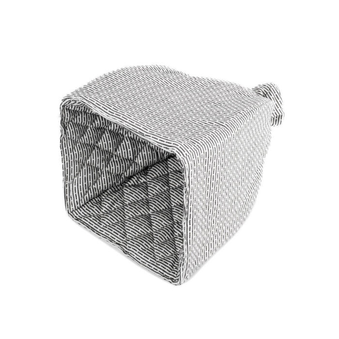 Cotton tea cosy in 100% organic cotton, with ample padding to stylishly keep your tea warm. Grey, rose, blue or earthy clay. Seen here in morning grey.
