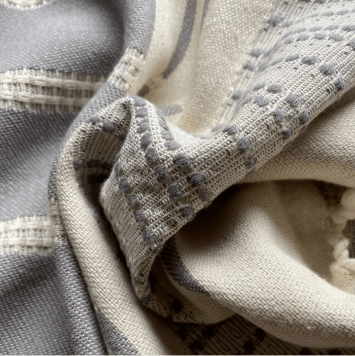 Defne are super soft and sumptuous, jacquard loomed peshtemals in organic cotton, perfect for cooler seasons. 90 x 175 cm. Seen here in close up of the ash colour.
