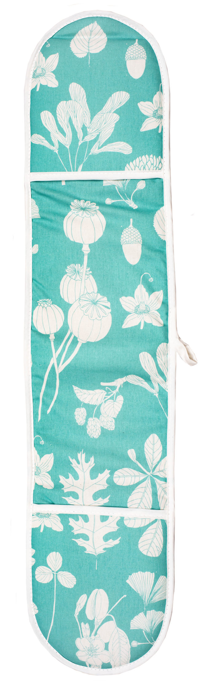 Do you want some colourful style in your kitchen, while keeping your hands safe? Turquoise oven gloves in heat-resistant padded cotton. Designed and made in the UK. 80 x 20cm